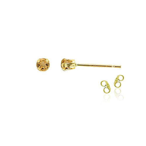 14K Yellow Gold Plated 925 Sterling Silver 3mm Round Natural Citrine November Birthstone Stud Earrings