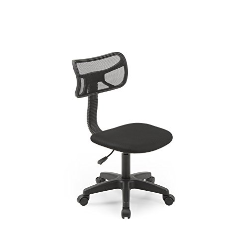 Hodedah Mesh Armless Task Chair with Adjustable Height and Swivel Functionality, Black
