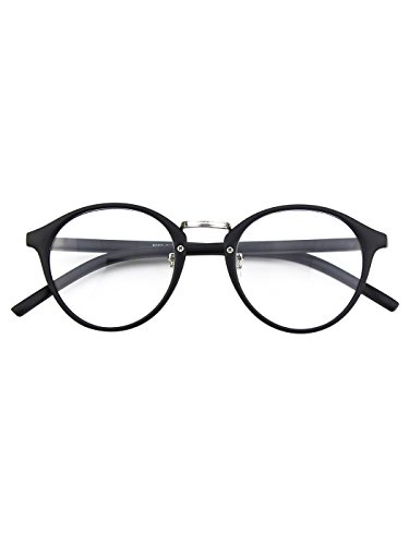 Happy Store CN65 Vintage Inspired Horned Rim Metal Bridge P3 UV400 Clear Lens Glasses,Matte - Glasses Bridge