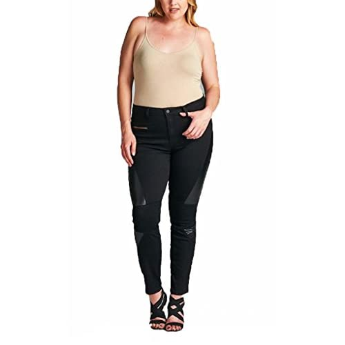 Cello Jeans Women PLUS SIZE Moto PU Leather Skinny Jeans with ...