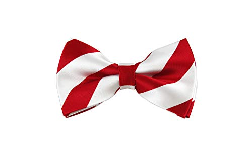 - Red and White College Stripe Pre-Tied Bow Tie