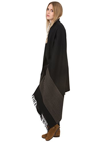 likemary Twill Handwoven Fairtrade Merino Wool Shawl and Oversize Scarf with Stripes Design 100 X 200cm