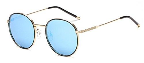 UV Sol Gafas MOQJ polarizadas Redondas Mujer Haze Marco de Metal de Gafas A para Gafas Vendimia Protección la de de Sol E rXwXPqH