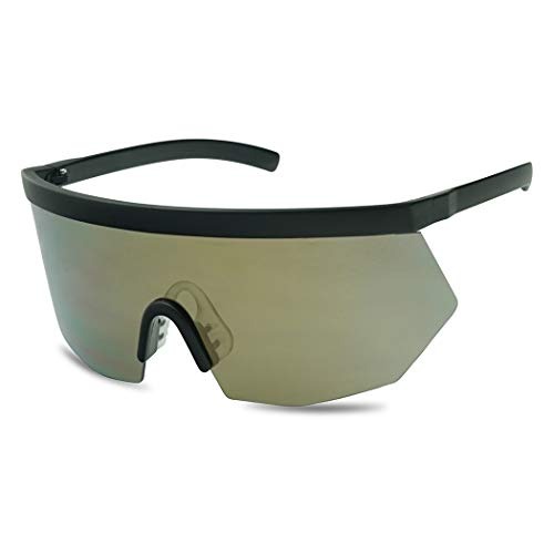 Super Oversize Flat Top Geometric Single Shield Neon Visor Sunglasses Mirror Lens (Matte Black | Bronze Lens)