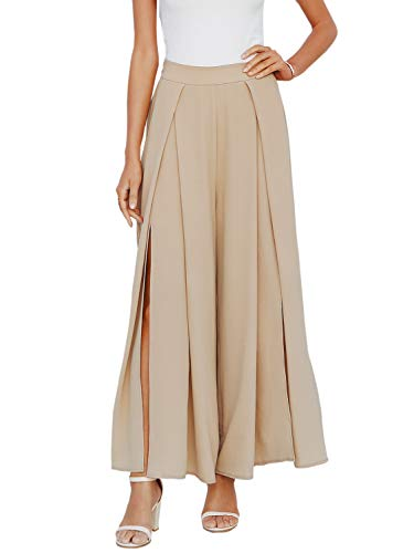 Simplee Women's Elastic Split Loose Wide Leg Pants Casual High Waisted Chiffon Pants Camel 10