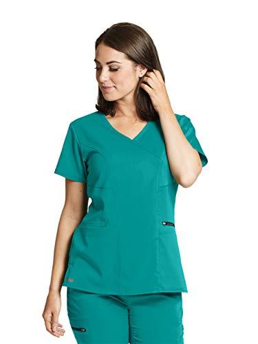Jade Scrub Top - Grey's Anatomy GRST001 Kim Surplice Scrub Top - Spandex Stretch Jade Jewel 5XL