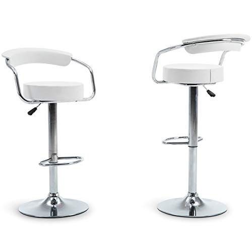Belleze 2 PU Leather Modern Adjustable Swivel Barstools Hydraulic Chair Bar Stools, White