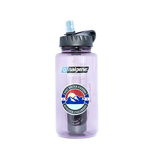 Epic Nalgene OG | Water Filtration Bottle | Wide Mouth 32 oz | American Made Bottle | USA Made Filter Removes 99.99% of Tap Water Contaminants Lead Chlorine Chromium 6 Arsenic Chloroform (Aubergine)