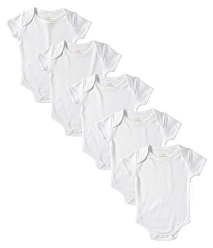 Cremson Unisex Baby Cotton 5 Pack Short Sleeve Bodysuits One-Piece Creeper - White (Size 0/3M)