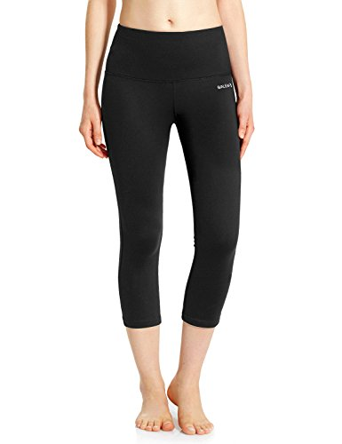 Baleaf Women's High Waist Yoga Capri Leggings Tummy Control Non See-through Fabric Black Size XL