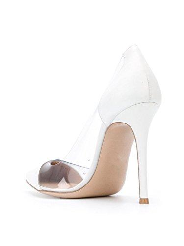 ELASHE Womens High Heel PVC Pumps | 10cm Pointed Cap Toe Transparent PVC Stilettos | Wedding Dress Event Pumps Shoes White QkAJbjtWfu