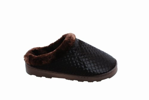 Colorfulworldstore Side seam Plush slippers-lattice PU leather Warm Plush slippers for winter for women&man's Man-Brown vFnin