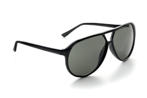 Zoom Classic Sunglasses Plastic Aviator Tear Drop Shape with Double Brow, Black Frames/Smoke Lenses, - Lebowski Sunglasses