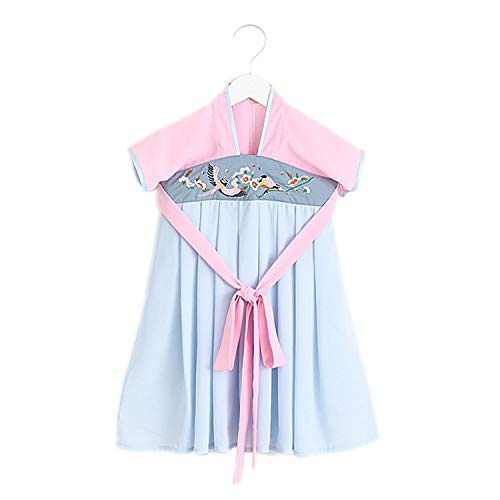 Traditional Chinese Girls Period Cheongsam Dress Embroidery Princess Clothing Children Kids,Blue,3T]()