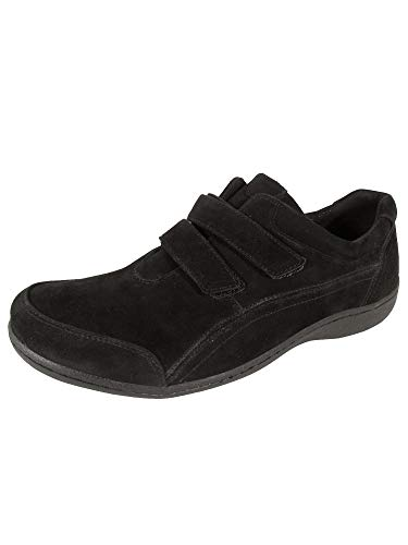 Aravon Womens Bromly Double Strap Sneaker Shoes, Black Suede, US 8.5 N