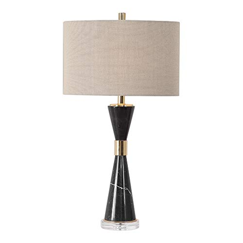 (Uttermost Alastair Black Marble Hourglass Table Lamp)