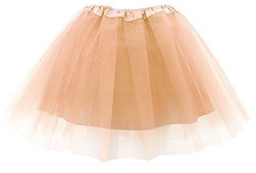 Simplicity Women Adult Lightweight Elastic 4 Layered Tulle Tutu Skirt, Golden -