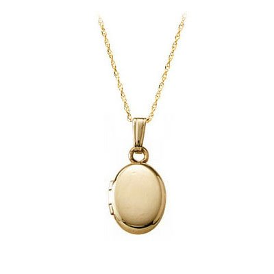 13 Inches Rope Chain 14K Yellow Gold Oval Locket For Babies Or Toddlers by Loveivy