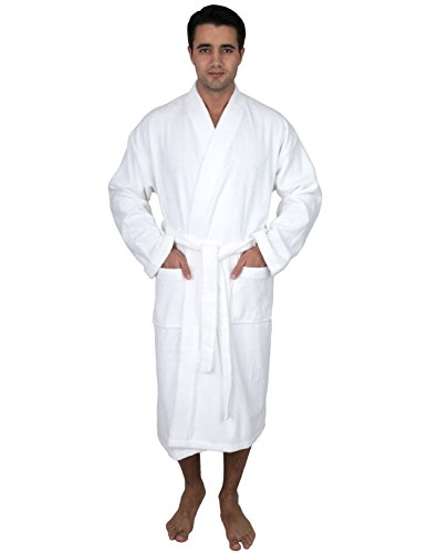 TowelSelections Men's Robe Low Twist Cotton Terry Kimono Bathrobe Large/X-Large White ()