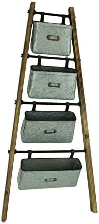 Special T Imports Wood Ladder with Galvanized Hanging Bins Home Storage Decor