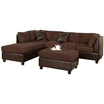 Bobkona Hungtinton Microfiber/Faux Leather 3-Piece Sectional Sofa Set Chocolate  sc 1 st  Amazon.com : three piece sectional couch - Sectionals, Sofas & Couches