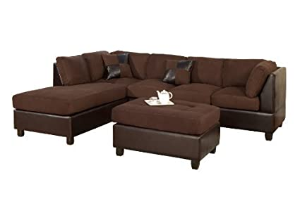BOBKONA Hungtinton Microfiber/Faux Leather 3-Piece Sectional Sofa Set,  Chocolate