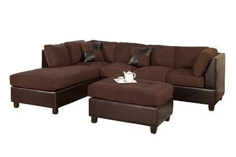 Bobkona Hungtinton Microfiber/Faux Leather 3-Piece Sectional Sofa Set Chocolate  sc 1 st  Amazon.com : sectional sofas leather - Sectionals, Sofas & Couches