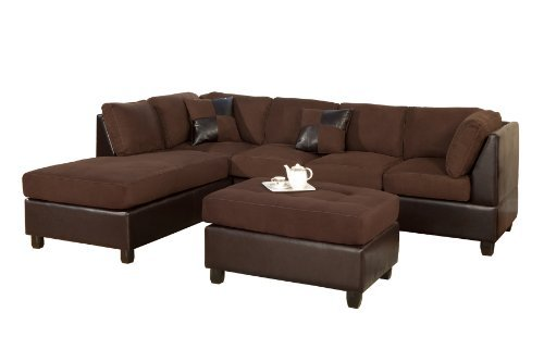 BOBKONA Hungtinton Microfiber/Faux Leather 3-Piece Sectional Sofa Set, Chocolate (Microsuede Sectionals)