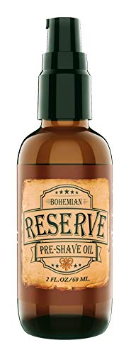 (SALE - Bohemian Brothers Grooming. Reserve Pre-Shave Oil. Ultra Smooth Shaving. Prevent Nicks and Irritation. With Vitamin E and Avocado Oil. Vintage Barbershop Scented Shave Oil for Men (2 OZ). )