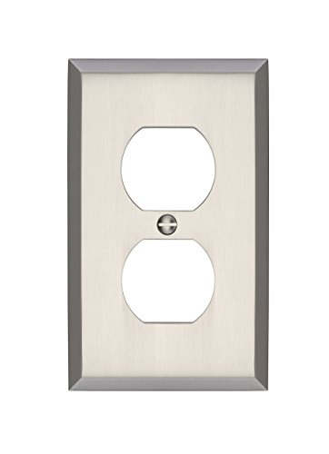 MAYKKE Graham Single Duplex Outlet Cover Electrical Socket Solid Brass Wall Plate Switch Cover 5 Color Finishes to Choose from, Brushed Nickel, ALA1000103