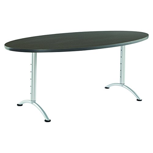 Iceberg ICE69625 ARC 6-foot Adjustable Height Oval Conference Table, 36'' x 72'', Gray Walnut/Silver Leg by Iceberg (Image #1)