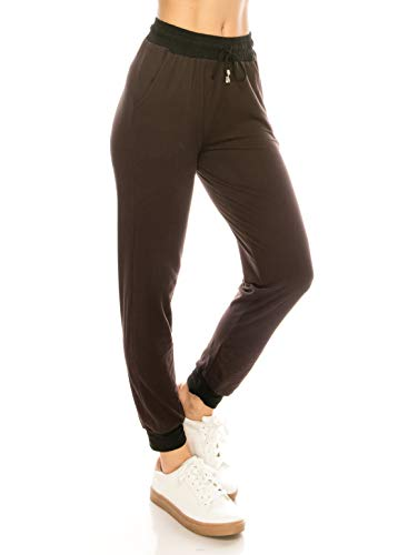 ALWAYS Women Drawstrings Jogger Pants - Lightweight Skinny Solid Basic Soft Stretch Pockets Sweatpants Brown S/M