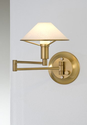 Swing Brass Arm Halogen Antique (Holtkoetter 9426 AB SW Lighting for The Aging Eye Halogen Swing-Arm Wall Sconce, Antique Brass with Satin White Glass)