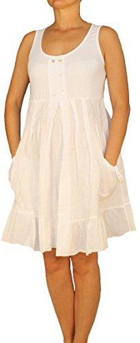 U U U Vestito Vestito Vestito Vestito Saxx Donna Basic Bianco maniche Tunica a Collo Senza XqUqwd
