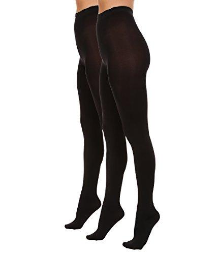 HUE Women's Blackout Tights 2-Pack Black/Black ()