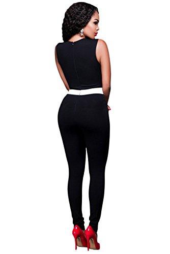 NEW Femme Noir et Blanc Combinaison de couleur/Body Club Parti Porter Taille S 8–10EU 36–38