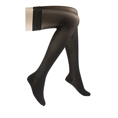 JOBST UltraSheer Thigh High with Lace Silicone Top Band, 15-20 mmHg Compression Stockings, Closed Toe, Medium, Classic Black ()
