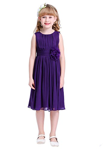Bow Dream Little Girls Elegant Ruffle Chiffon Summer Flowers Girls Dresses Junior Bridesmaids Purple 16 (For Summer Purple Dresses Juniors)