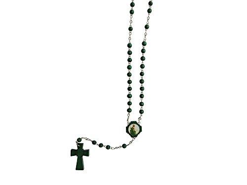 Wooden Saint Jude The Apostle Green Rosary Rosario De Madera De San Judas