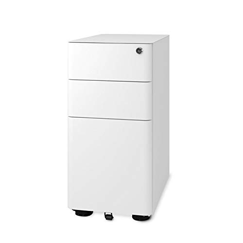 DEVAISE 3-Drawer Slim Mobile File Cabinet with Lock, Legal/Letter Size, White