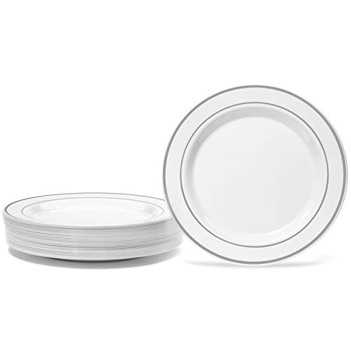 50 Piece Silver Rimmed White Plastic Plate - 9 Inch -  Set for 50 Guest By Oasis Creations  - Disposable Dinner Plastic Plates - Wedding Dinnerware Sets