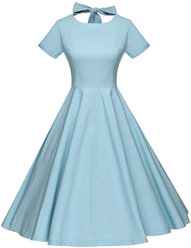 GownTown Womens 1950s Vintage Retro Party Swing Rockabillty Stretchy Dress - Medium - Lightblue]()