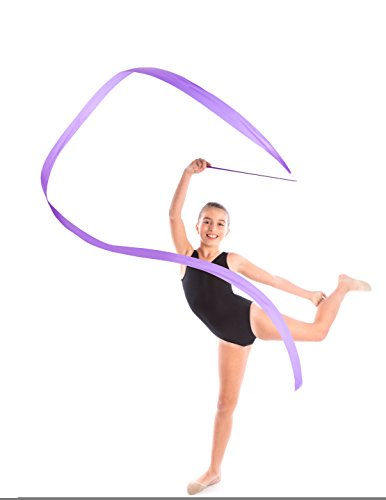 Aneco 14 Pieces Dance Ribbons Streamers Rhythmic Gymnastics Ribbon Wands for Kids Artistic Dancing, Baton Twirling, 14 colors by Aneco (Image #4)