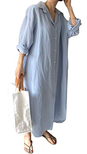 GGUHHU Womens Chic Button Down Rolled-Up Sleeve Long Cotton Blouse Maxi Dress (Large, Light Blue)