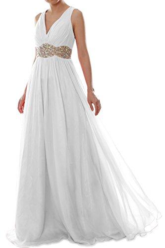 Women Prom Weiß MACloth V Neck Straps Formal Gown Long Chiffon Dress Wedding Ball 7HqqYdWc