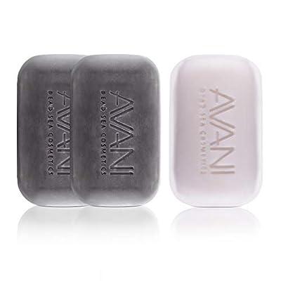 AVANI Dead Sea Cosmetics Mud and Salt Soap Set - Includes Vitamins, Essential Oils, Minerals - 2 Mud Soaps + 1 Salt Soap