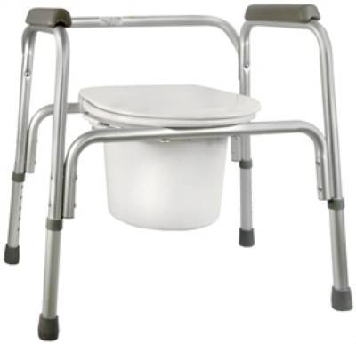 MCK13293300 - Mckesson Brand Commode Chair SunMark Fixed Arms Anodized Aluminum Seat Lid Back 16 to 22 Inch