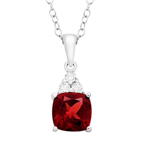 - 2 ct Natural Garnet & White Topaz Pendant Necklace in Sterling Silver, 18