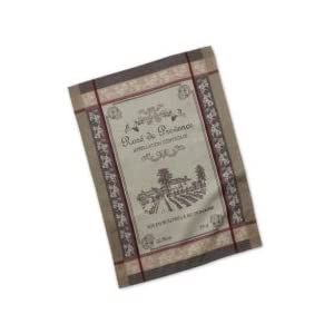 Design Imports Bundle of 5 French Decor Dish Towels, 3 Grain Sack Dishtowels with Fleur de Lis and French Provincial Décor and 2 Oversized Rose de Provence Jacquard Dishtowels with a vineyard scene.