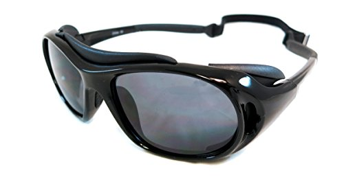 Monstrum Tactical TS02 Protective Sunglasses with Detachable Side Shields (Glossy Black, Smoke Grey)